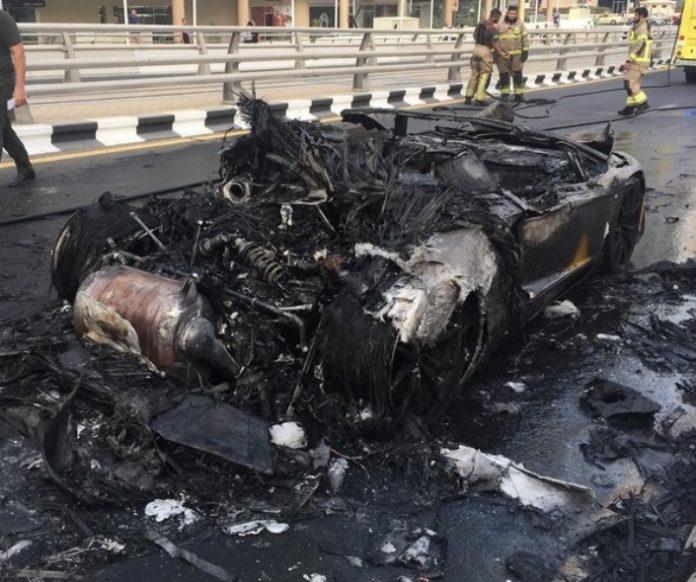 Lamborghini Aventador fire ashes