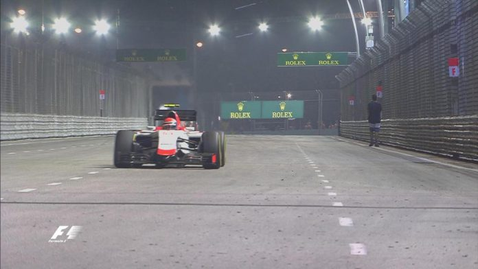 Man on the track at Singapore Grand Prix