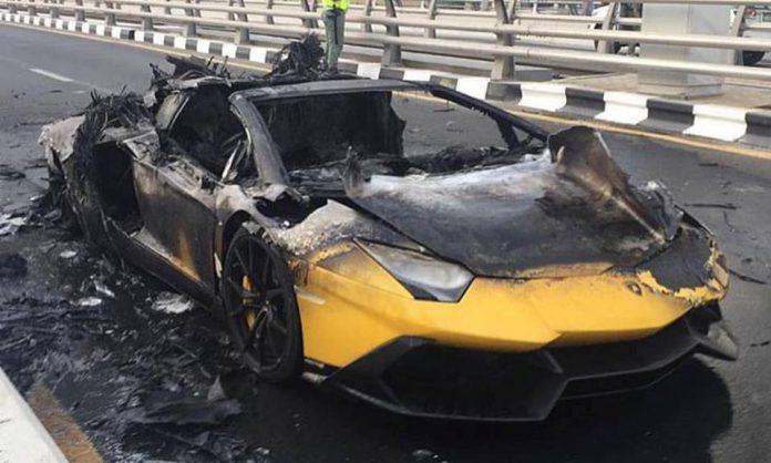 Yellow Lamborghini Aventador burning