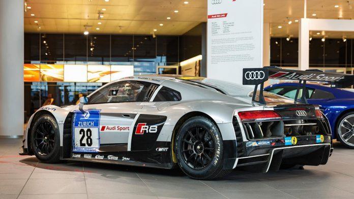 Audi R8 LMS in showroom side