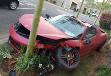 Ferrari 458 Spider crash in South Africa