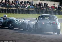 Aston Martin DBR1 crashes in the UK