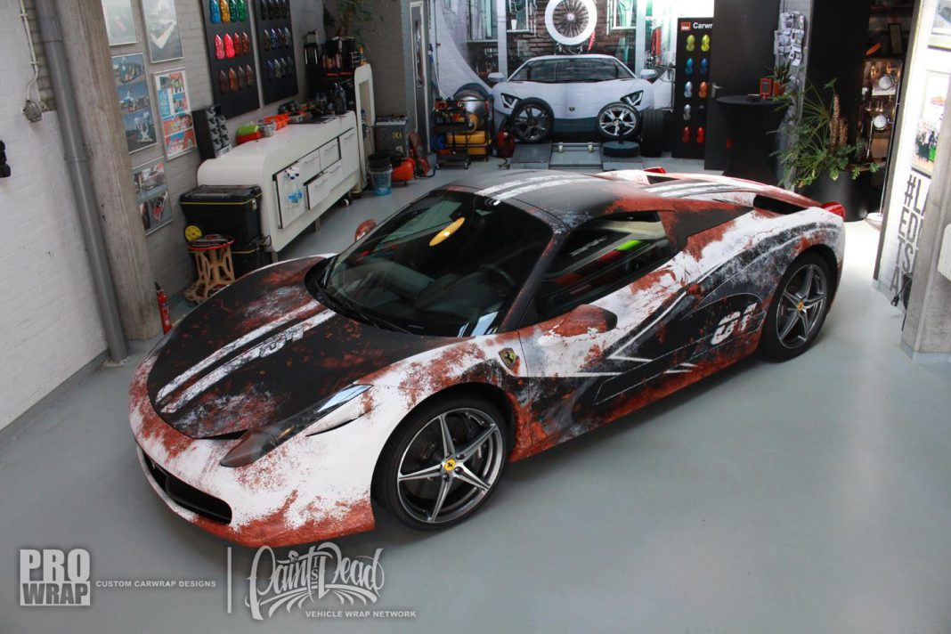 Custom wrapped Ferrari 458 Spider