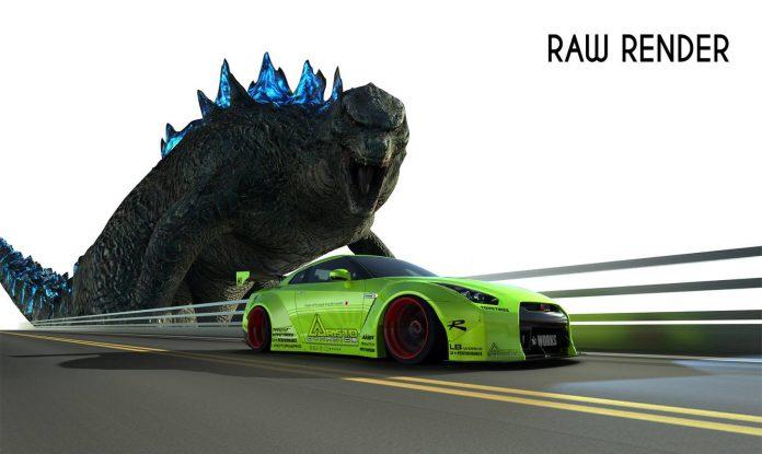 Green Nissan GT-R Godzilla