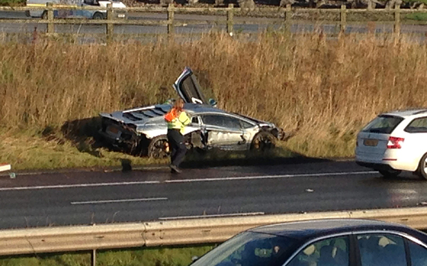 Lamborghini Aventador crashes in the UK