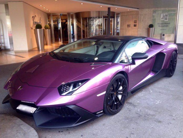 Purple Lamborghini Aventador