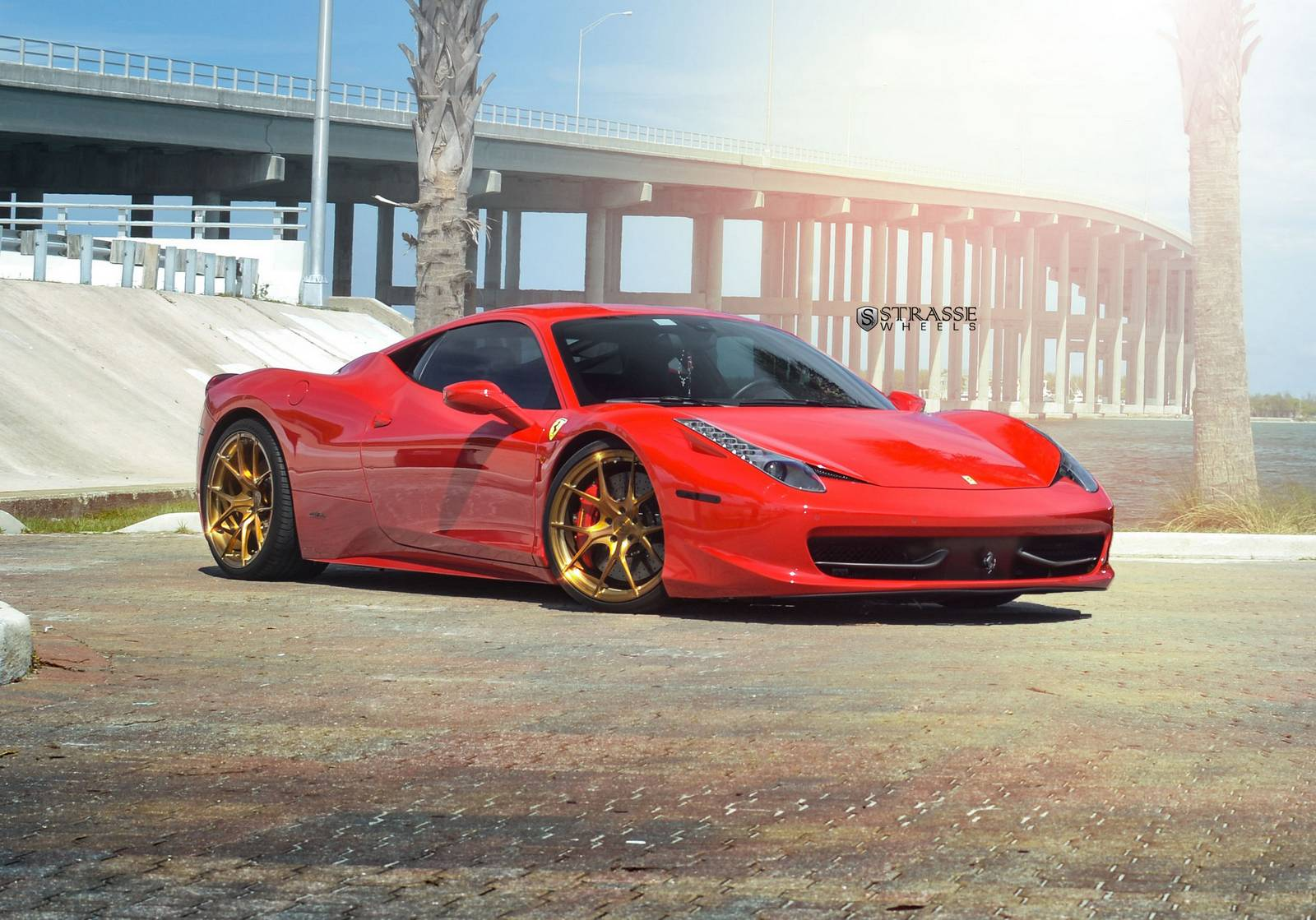 rosso corsa ferrari 458 italia on bronze strasse wheels gtspirit. Black Bedroom Furniture Sets. Home Design Ideas