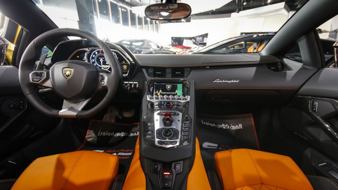 Brown Lamborghini Aventador for sale interior