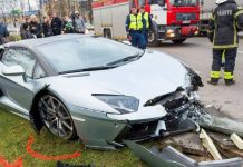 Lamborghini Aventador crash in Estonia