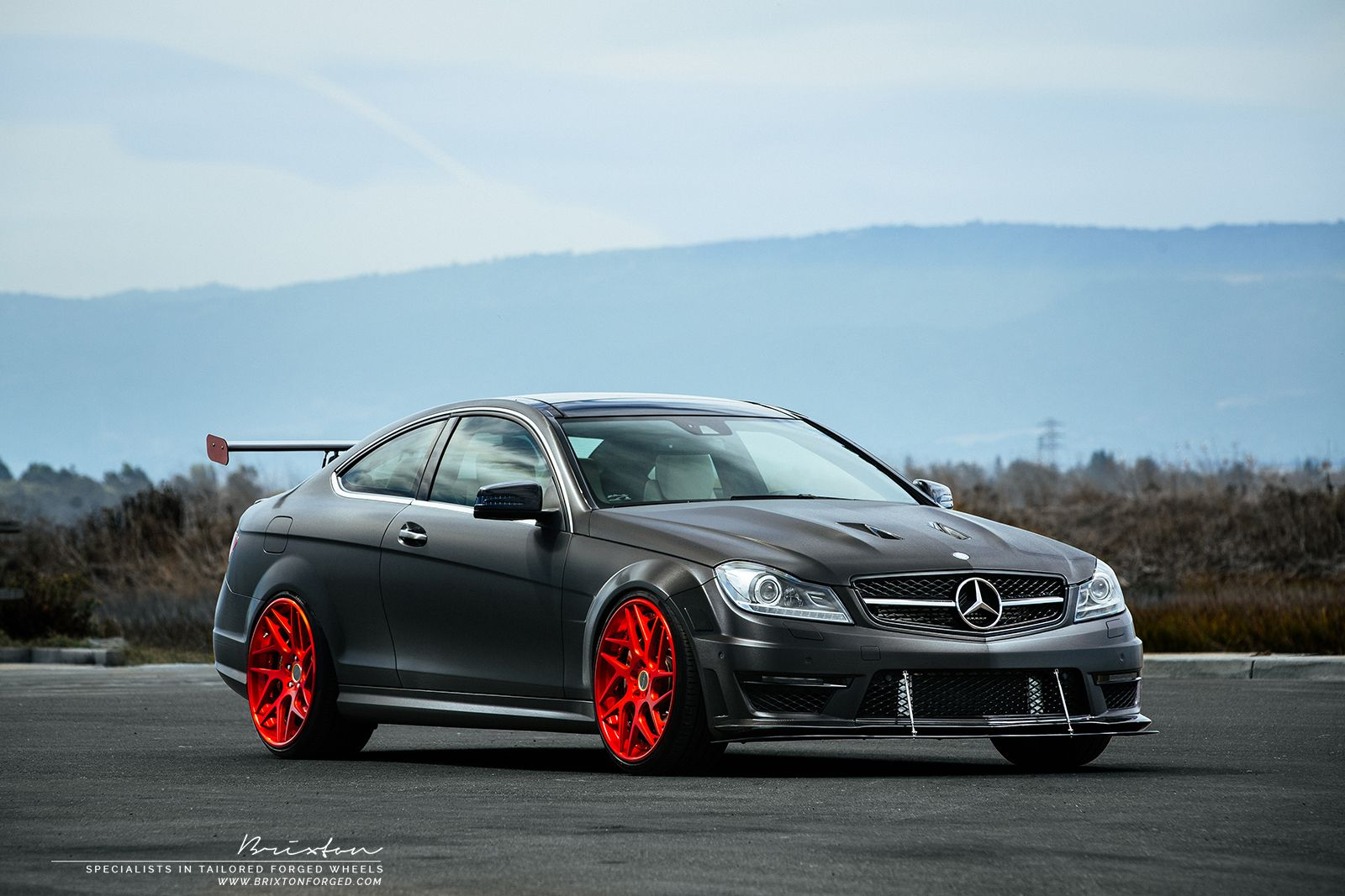 supercharged mercedes benz c63 amg with red brixton forged. Black Bedroom Furniture Sets. Home Design Ideas