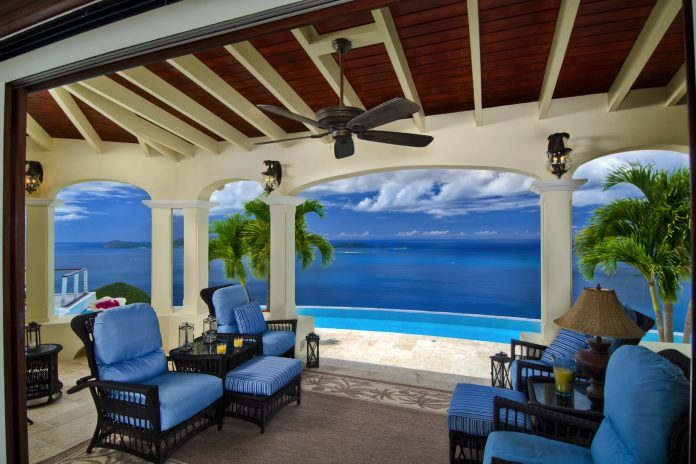 Virgin Islands mansion deck
