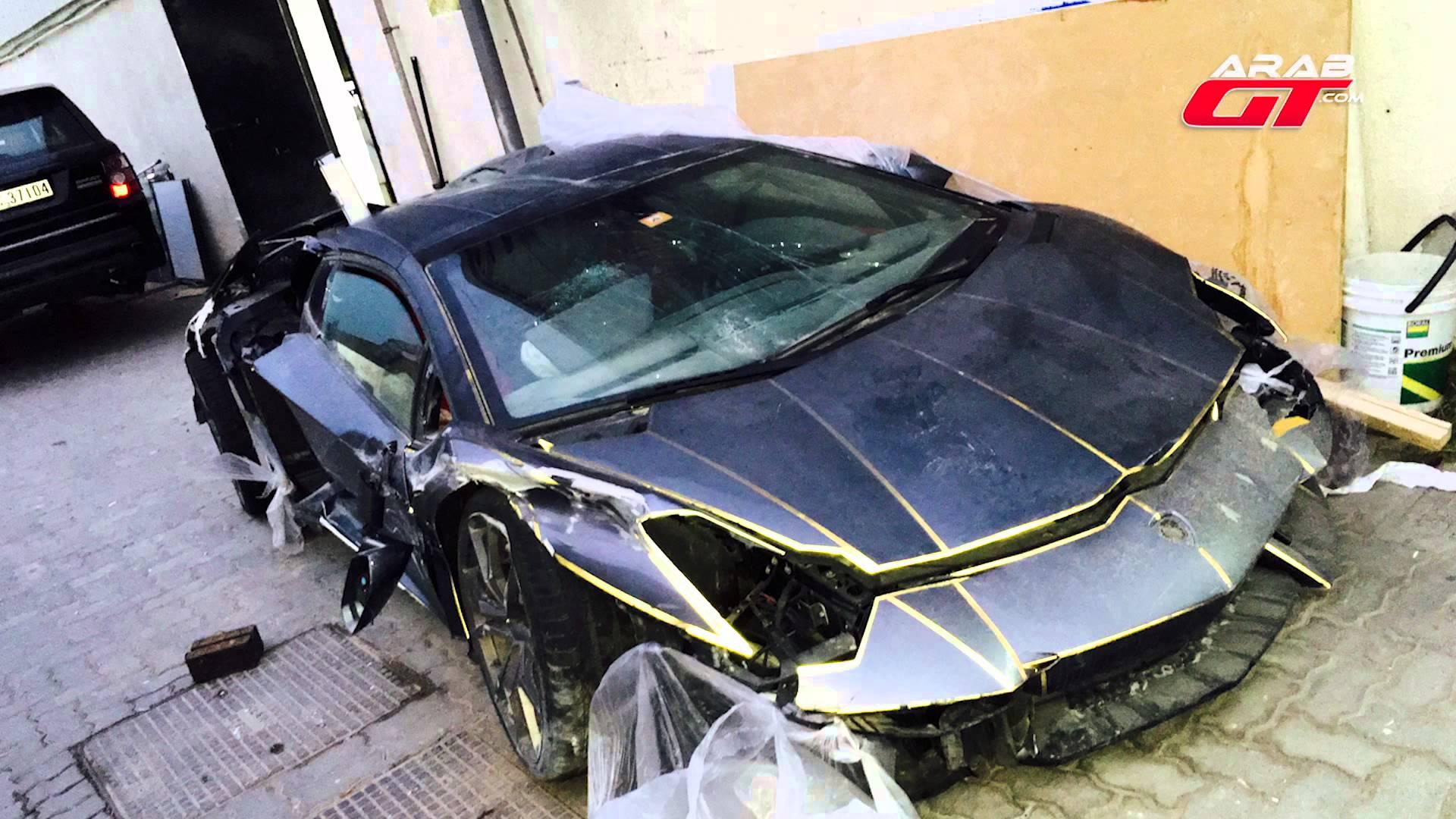 Wrecked Lamborghini Aventador Auctioned For 100k In Dubai Gtspirit
