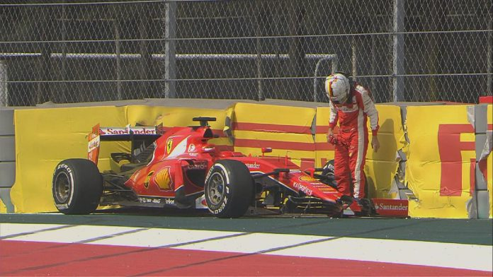 Sebastian Vettel Mexico GP 2015 crash