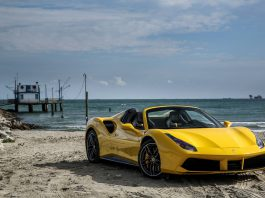 Yellow Ferrari 488 Spider