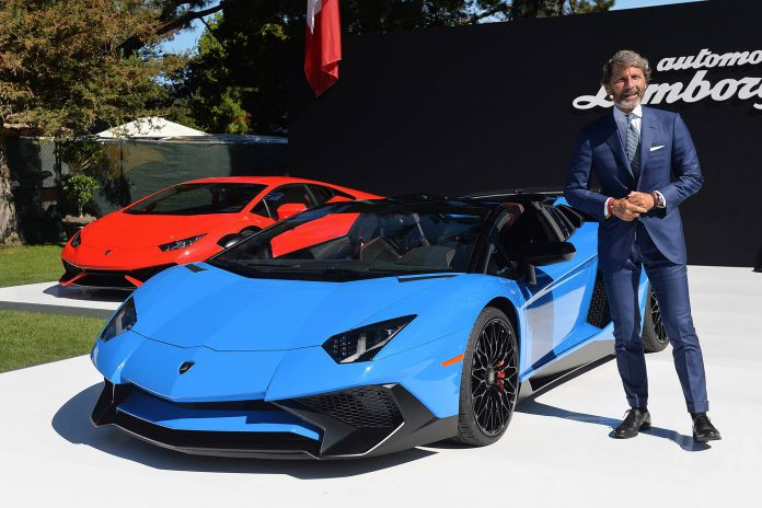 Stephan Winkelmann and Lamborghini Aventador SV Roadster