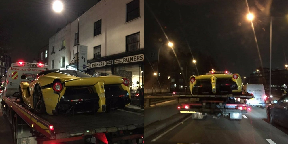 Yellow LaFerrari Crash London