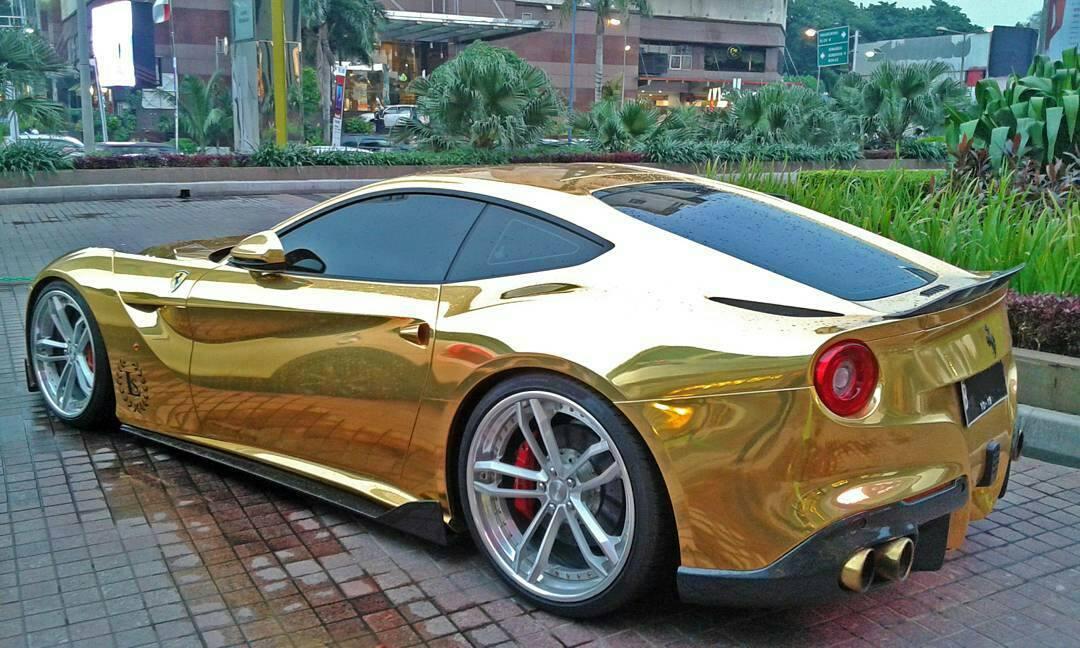 gold wrapped ferrari f12 in indonesia gtspirit