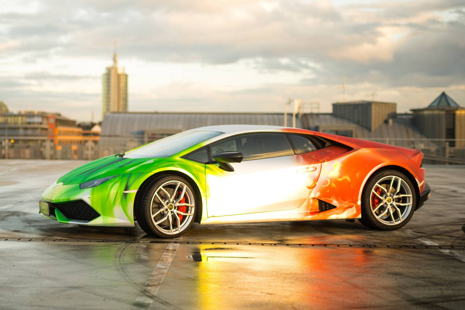Chrome Car Wrap >> Lamborghini Huracan Wrapped in Tricolor Flames by Print Tech - GTspirit