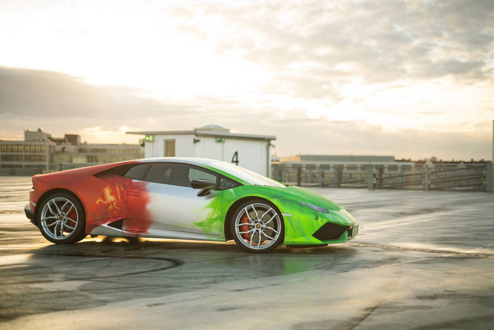 Lamborghini Huracan Wrapped in Tricolor Flames by Print Tech