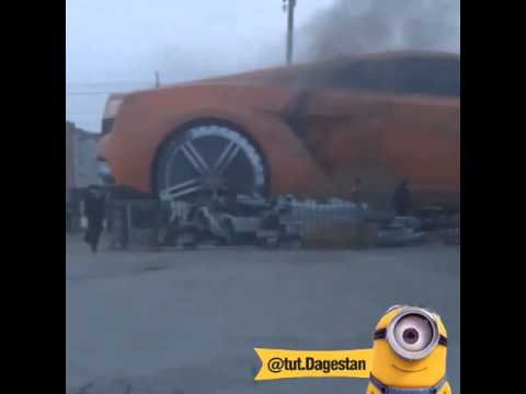 Ironic Fire Consumes Giant Lamborghini Gallardo Sculpture in Russia!