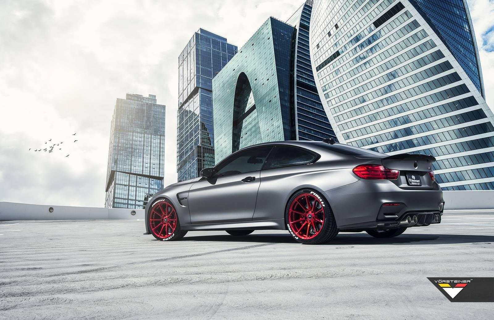 Frozen Gray Bmw M4 With Candy Apple Red Vorsteiner Wheels Gtspirit