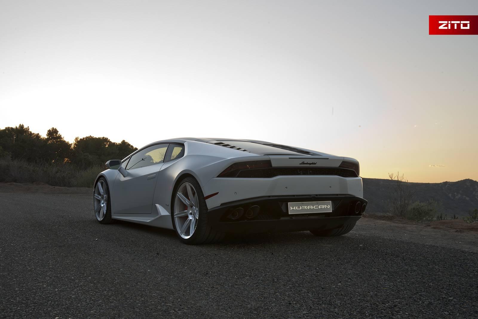 Bianco Novus Lamborghini Huracan with Anodized Silver Zito ...