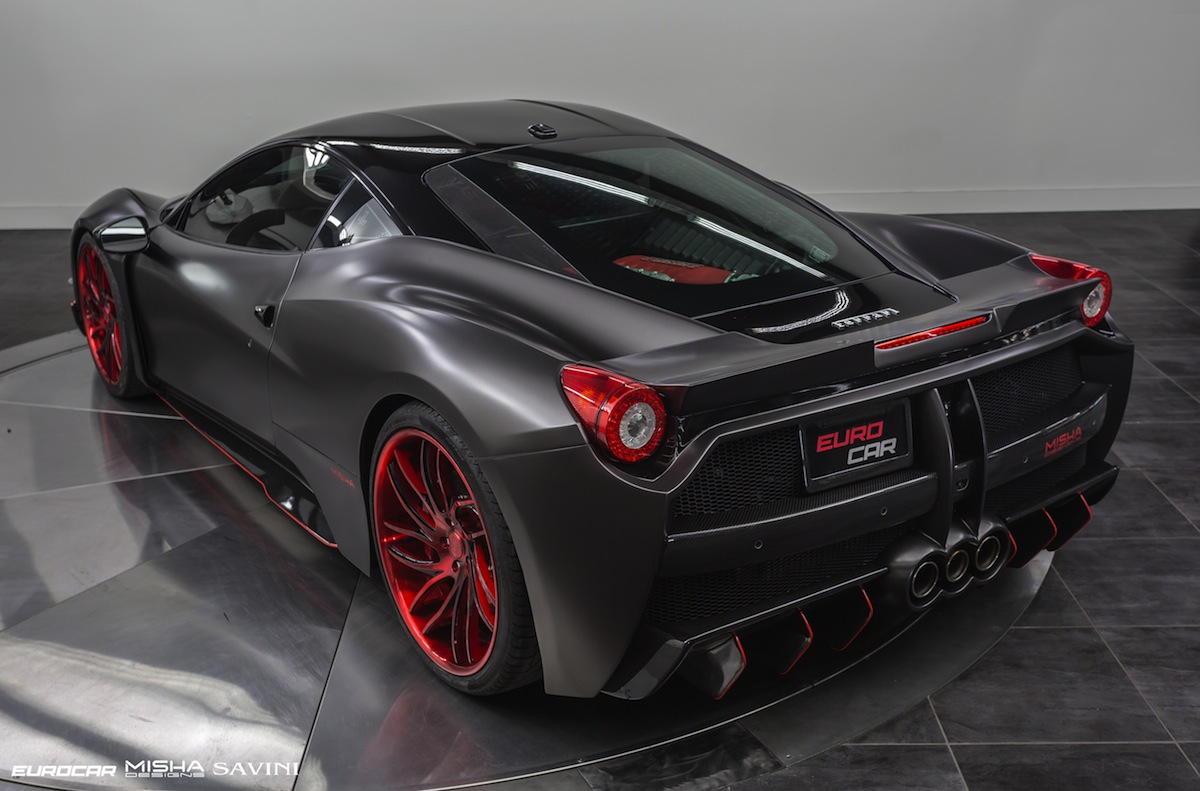 satin black ferrari 458 italia by misha designs gtspirit. Black Bedroom Furniture Sets. Home Design Ideas
