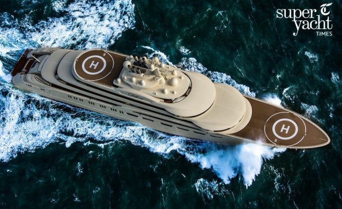 Superyacht Dilbar Aerial Shot by Tom van Oossanen for SuperYachtTimes.com.