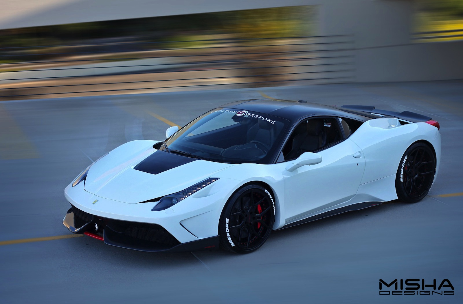 White Ferrari 458 Italia with Misha Designs Widebody Kit - GTspirit