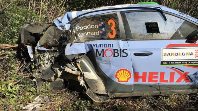 Hayden Paddon crash on SS6 - WRC Rally Italia 2016