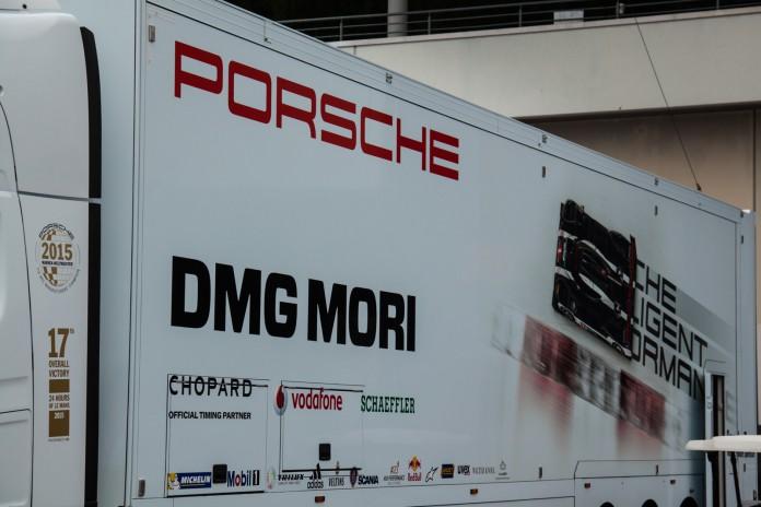 Porsche 'DMG MORI' LMP1 Racing Truck at WEC 6 Hours of Nürburgring 2016.  (c) Niels Stolte / GTspirit.com