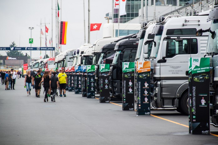 Trucks of race times lined up at the Nürburgring. (c) Niels Stolte / GTspirit.com