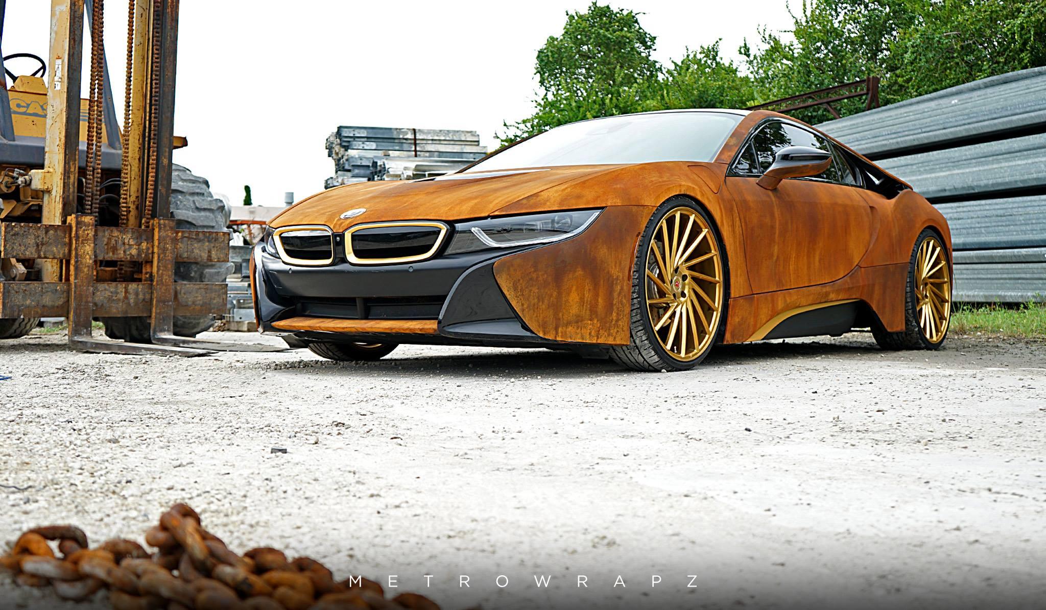 Mahone S Rust Wrapped Bmw I8 With Vossen Wheels Gtspirit