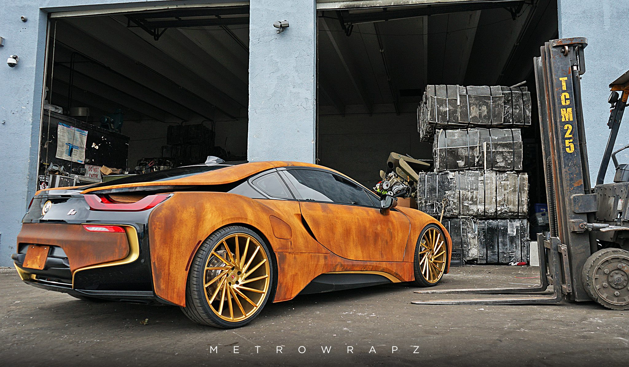 Mahone S Rust Wrapped Bmw I8 With Vossen Wheels Gtspirit