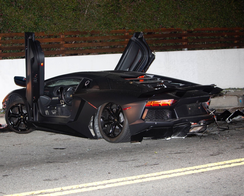 Chris Brown's Lamborghini Aventador Crashed and Abandoned ...