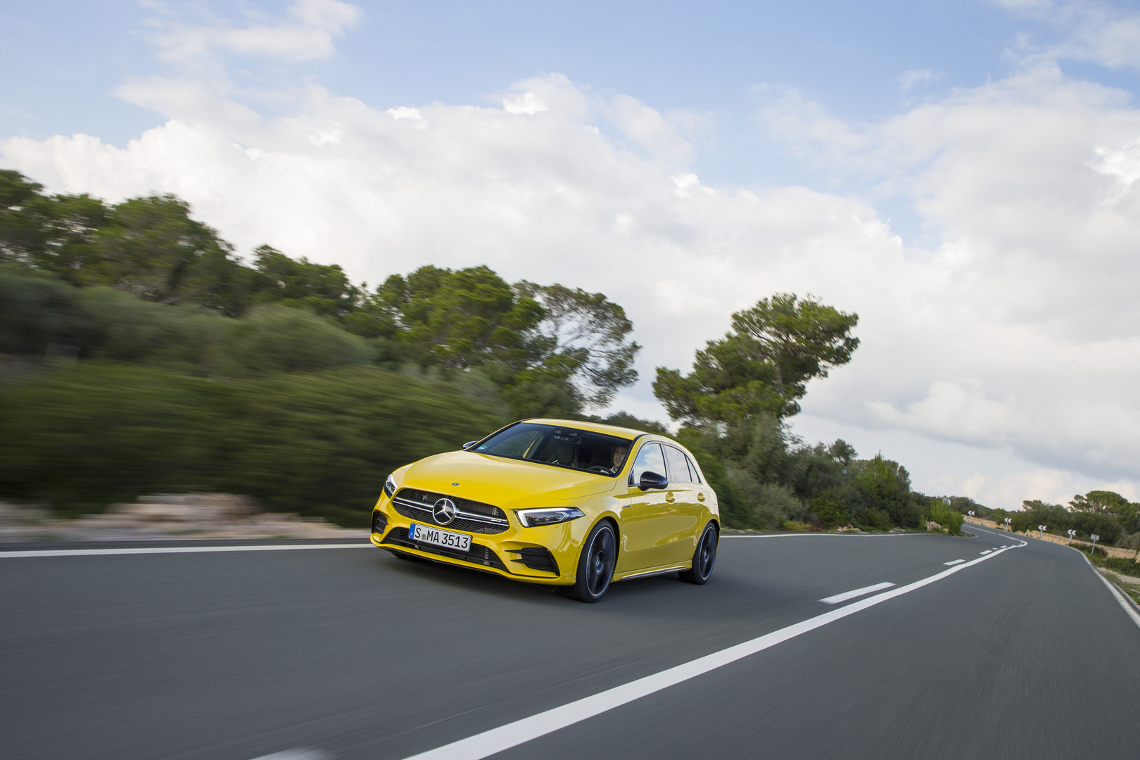 Sun Yellow Mercedes-AMG A35
