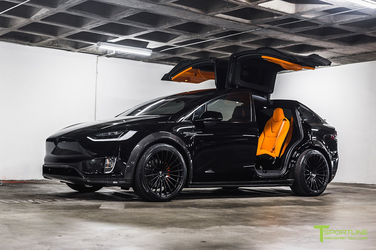 T Largo 7: Black and Orange Tesla Model X by T Sportline - GTspirit