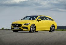 Yellow Mercedes-AMG CLA 35 4MATIC Shooting Brake (2019)Mercedes-AMG CLA 35 4MATIC Shooting Brake