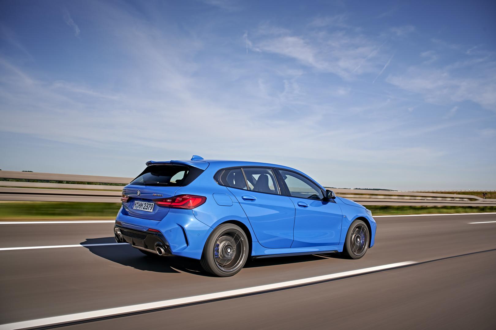 Blue BMW M135i Side View