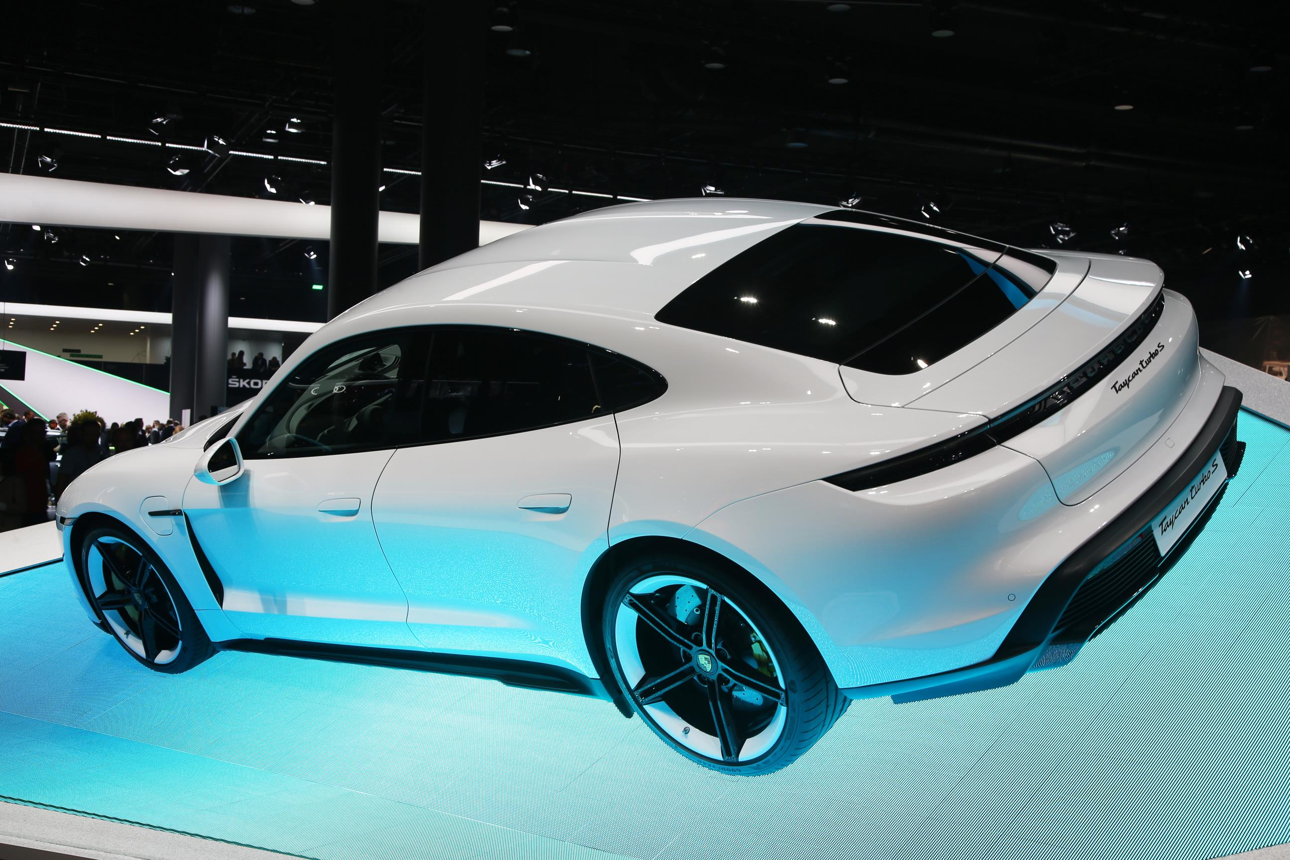 White Porsche Taycan Turbo S
