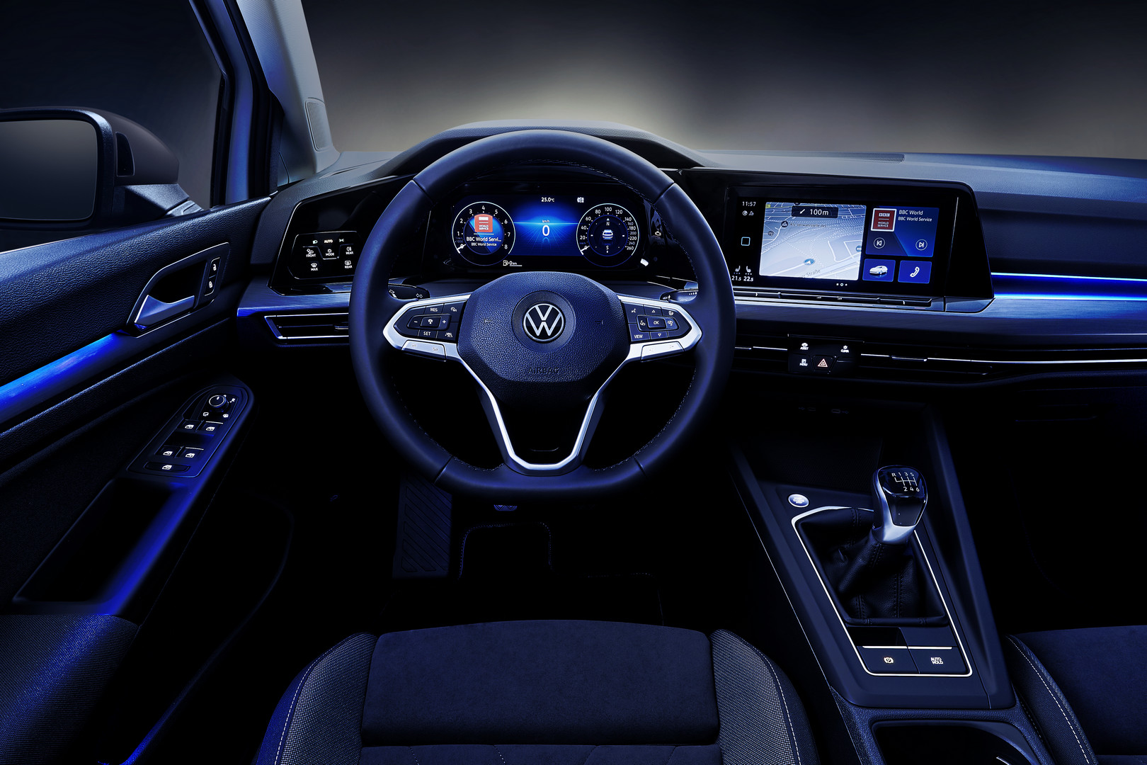 White VW Golf 8 Night Interior