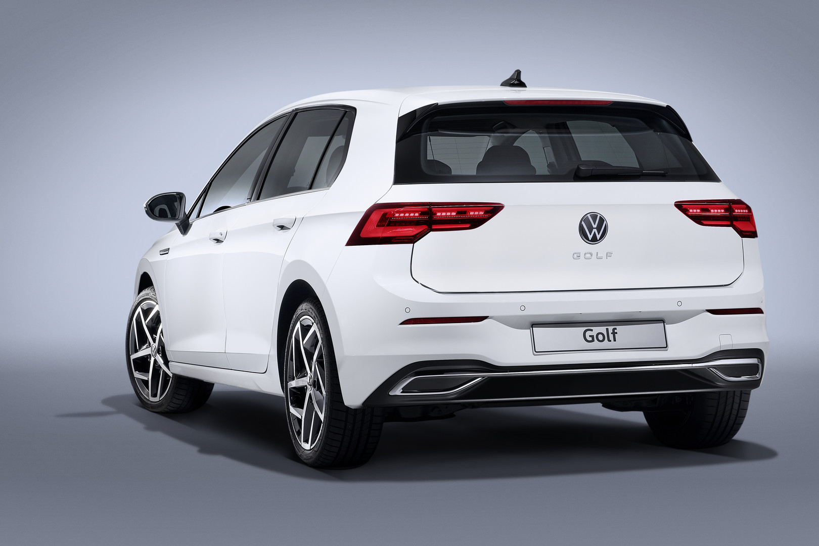 White VW Golf 8 Rear Side